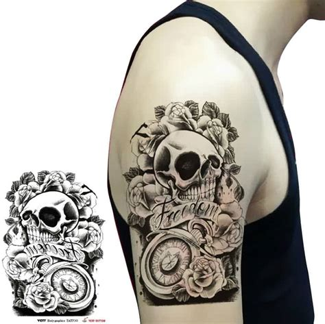 clock skull  rose tattoos  biceps tattoo ideas