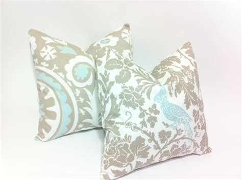 light blue throw pillows light blue and taupe decorative throw pillow covers bird