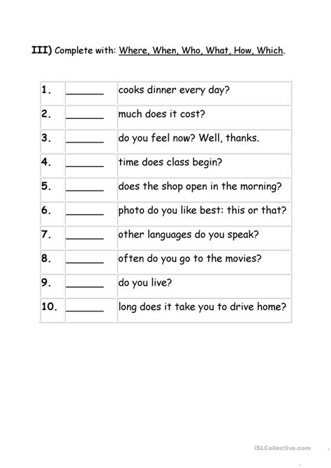 wh questions worksheets for grade 1 worksheet exle