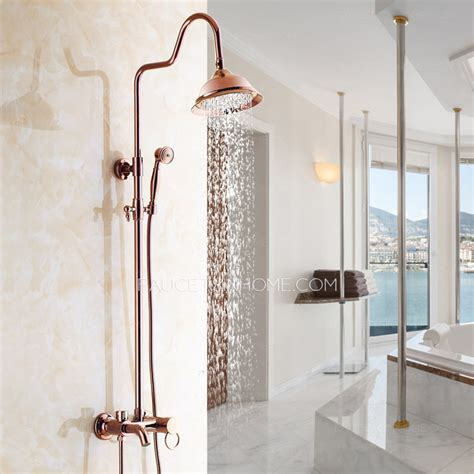 Quality Rose Gold Brass Outdoor Bathroom Shower Faucets