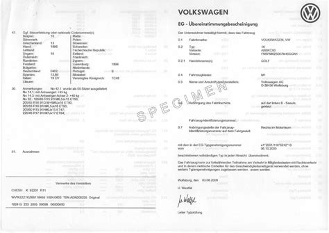 Certificate of conformity COC VW