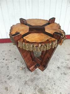 Log Slab Side Table or Coffee Table / Rustic by