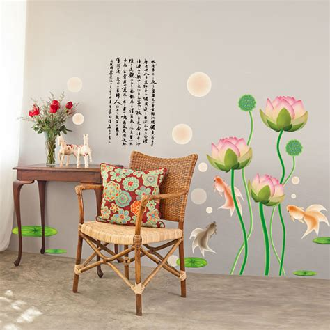 The about wall decor marketplace is the very first to aggregate a wide range of the most popular and highly rated wall decor products from major websites across the internet to include: 2D - chinese new year lotus flowers koi fish background wall art decoration removable sticker