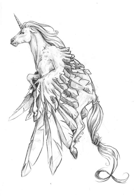 Attractive grey pencilwork pegasus with lifted wings