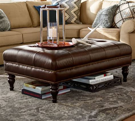 pottery barn leather coffee table martin tufted leather ottoman pottery barn
