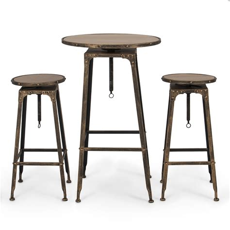 kitchen bistro table and chairs pub table set 3 piece bar adjustable height stools bistro