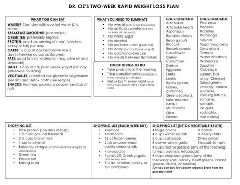 Rapid Weight Loss Two-Week Diet Plan
