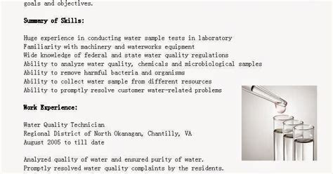 resume sles water quality technician resume sle