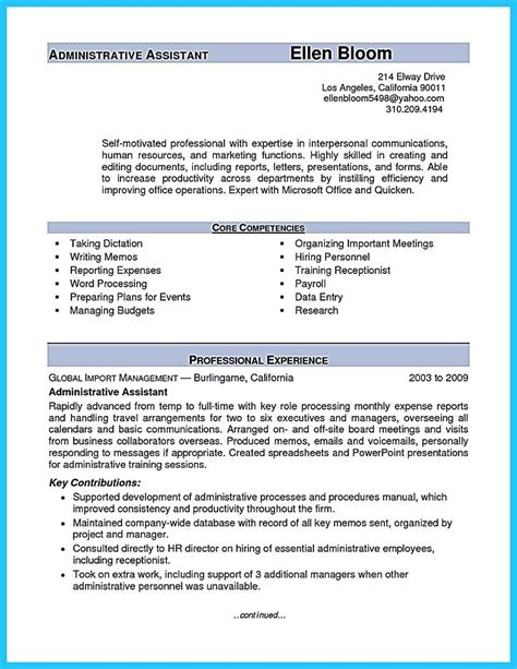 Resume Templates For Assistant by Sle To Make Administrative Assistant Resume