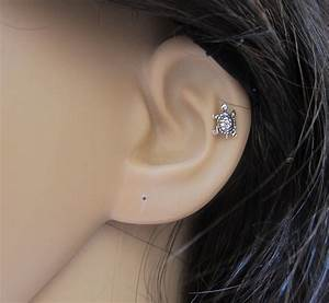 Tiny Turtle Cartilage Earring Turtle Tragus earring Nose