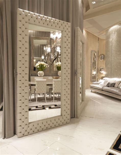 luxe designer tufted leather floor mirror custom