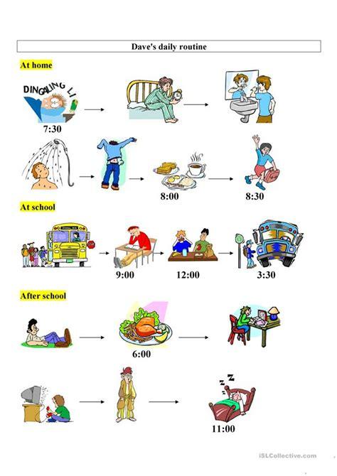 daves daily routine worksheet  esl printable
