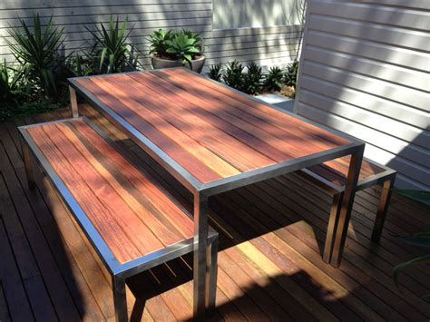 Outdoors Tables : Custom Made Brand New Stainless Steel Timber Outdoor