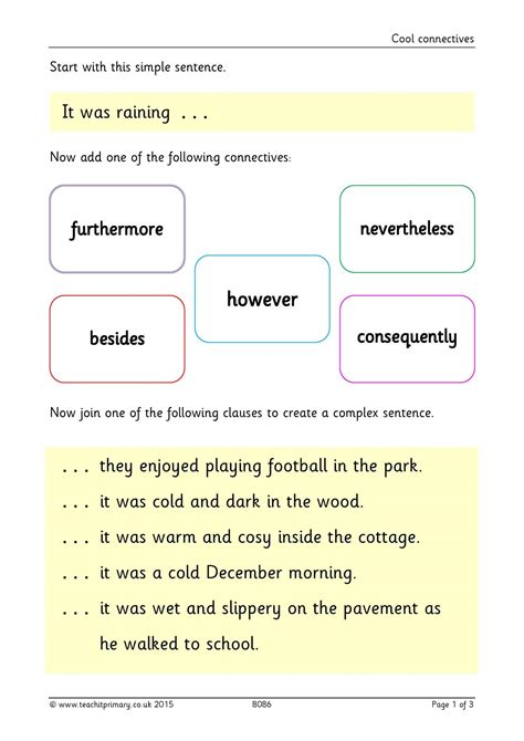 conjunctions and connectives vocabulary punctuation and