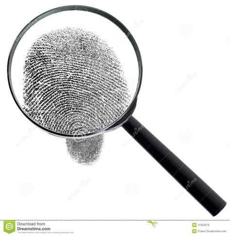 loupe et empreinte digitale d isolement sur le blanc images stock image 11304374