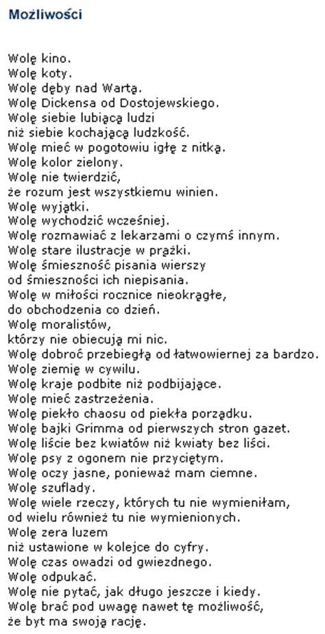wislawa szymborska poetry mozliwosci
