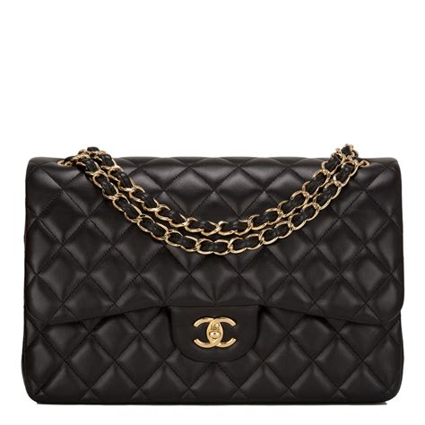 chanel black quilted lambskin jumbo classic double flap bag worlds