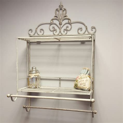 shabby chic l base shabby chic metal wall shelf towel rail rack storage cabinet bathroom kitchen ebay