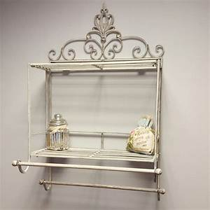 Shabby chic metal wall shelf towel rail rack storage for Kitchen cabinets lowes with country metal wall art