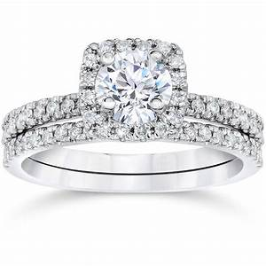 5 8ct cushion halo real diamond engagement wedding ring With diamond engagement wedding ring sets