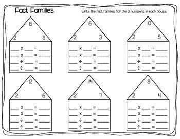 fact families worksheet pack multiplication division tpt