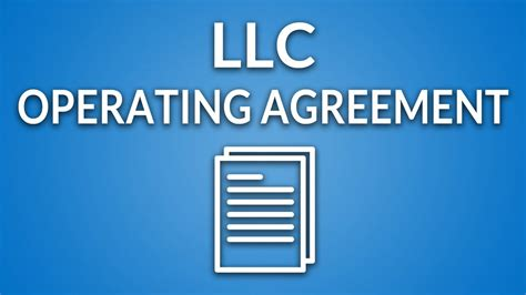 llc operating agreement template instructions youtube