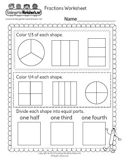 kindergarten fraction worksheets tackling advanced