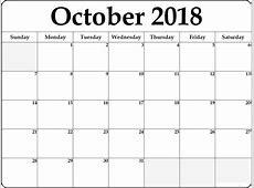 October 2018 Calendar Template Printable {Download