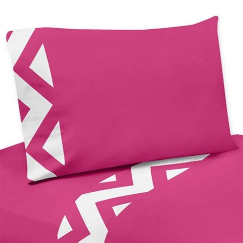 3 pc twin sheet set for hot pink and white chevron bedding