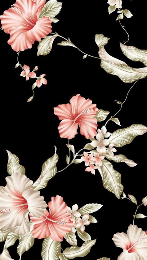 Flower Iphone Black Background Wallpaper by Floral Wallpaper Patterns Floral Wallpaper Iphone