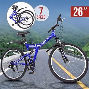 "26"" Folding Blue Mountain Bike 7 Speed Bicycle Shimano ..."