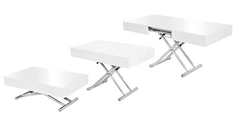 Table Basse Relevable Extensible Blanche