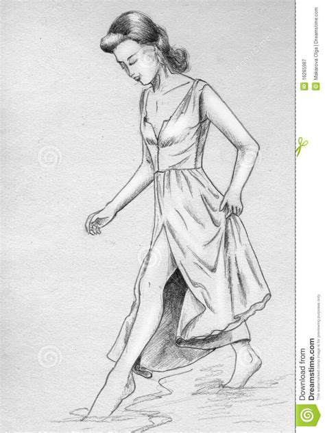 How To Draw A Victorian Boy by Girl Touches Water With Her Toes Royalty Free Stock