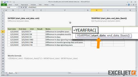 excel tutorial calculate years months