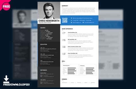 free resume template psd freedownloadpsd