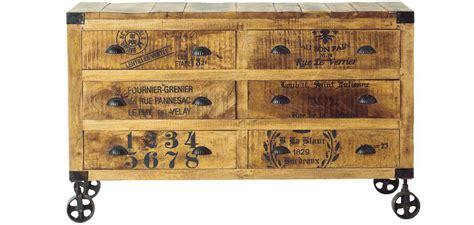 bas de cuisine pas cher commode vintage industriel à roulettes bois 6 tiroirs