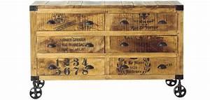 Commode Vintage Pas Cher : commode vintage industriel roulettes bois 6 tiroirs pas cher ~ Teatrodelosmanantiales.com Idées de Décoration