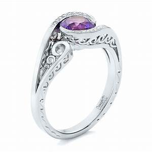 custom purple sapphire and diamond engagement ring 102080 With purple diamond wedding ring