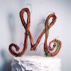 rustic wedding letter m rustic twig wedding cake topper With letter m cake topper