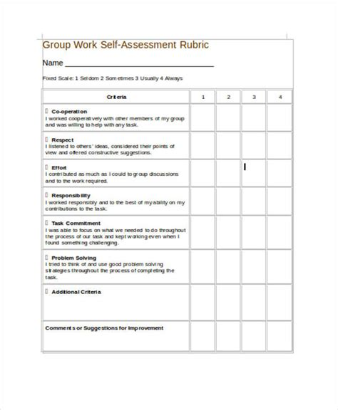 Student Self Evaluation Templates by 35 Self Assessment Form Templates Pdf Doc