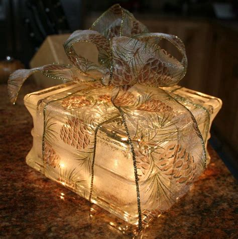 glass christmas light box lighted glass block christmas gift with pinecone bow night