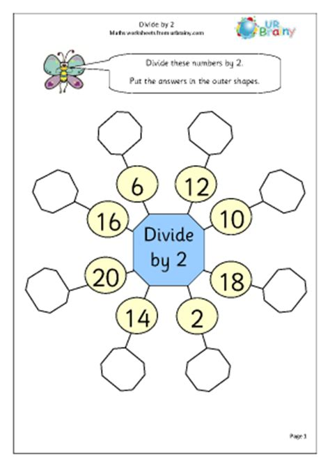 division worksheets dividing by 2 divide by 2 1 division and fractions maths worksheets for year 2 age 6 7