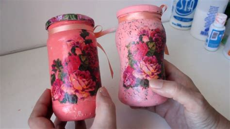 frascos de vidrio decorados  decoupage  craquelado
