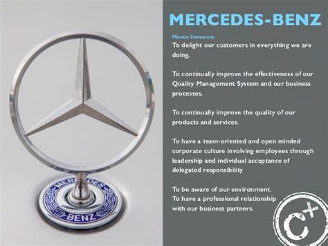 mercedes benz mission statement  delight