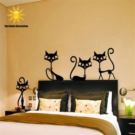 4 black fashion wall stickers cat stickers living room decor tv wall decor child bedroom vinyl