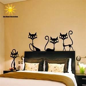 4 black fashion wall stickers cat stickers living room for Wall decor stickers for living room