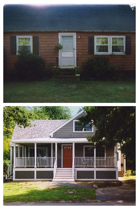 exterior remodel before and after screened porch