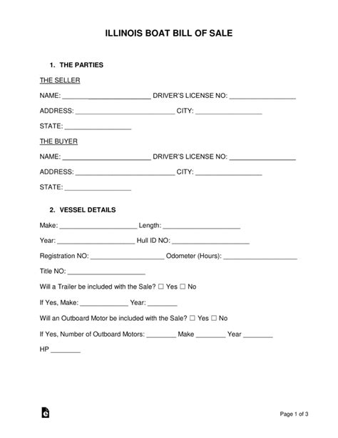 Printable Boat Bill Of Sale by Free Illinois Boat Bill Of Sale Form Word Pdf Eforms