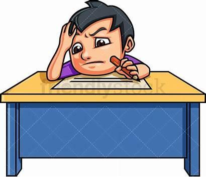 Writing Essay Boy Cartoon Clipart Vector Kid
