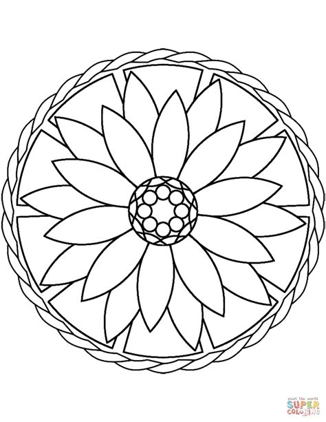 Simple Mandala with Flower coloring page Free Printable